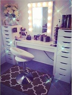 My Dream Beauty Room Planner Makeup Rooms Decor My New Room, My Room, Sala Glam, Ikea Alex Drawers, Ikea Desk, Tall Drawers, Vanity Drawers, Ikea Table, Rangement Makeup
