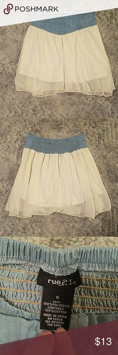 Cute Skirt Sheer overlay and denim looking waistband. Size S. Washed but never worn! Smoke free, pet friendly home. Reasonable offers accepted! Discounts for bundles! Rue 21 Skirts
