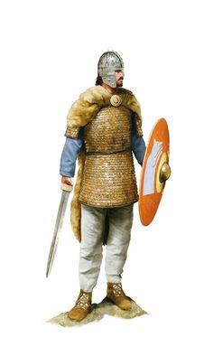 Roman cavalry officer of the Equites Honoriani Seniores, a Vexillatio Comitatensis, Roman army in Britain, circa 400 AD. Artwork by Tom Croft.