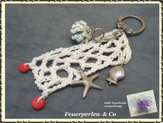 Taschenanhänger - Handgearb. Fischernetz-Anhänger !Lampwork! - ein Designerstück…