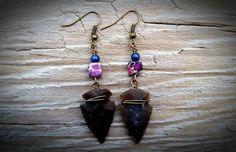 Arrowhead Earrings with Jasper & Lapis by TheEarthBelow on Etsy