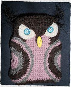crochet owl mobile phone cozy