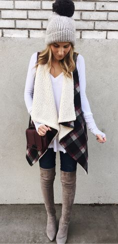 #winter #outfits women's gray bauble cap, white long-sleeve shirt, and pair of gray knee-hole booties outfit