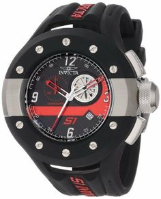 Invicta Men's 11122 S1 Rally Chronograph Black and Red Dial Black Polyurethane Watch Invicta. Save 86 Off!. $135.50. Black and red dial with red and white hands, white Arabic numerals; luminous; stainless steel accents on black polyurethane covered bezel; stainless steel crown and pushers. Mineral crystal; stainless steel case with black polyurethane cover; black polyurethane strap with red insignia. Chronograph functions with 60 second and 30 minute subdials with black and red hands; date…