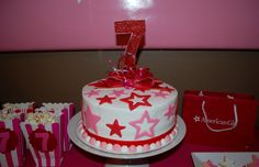 Decorated cake at an American Girl party!     See more party ideas at CatchMyParty.com!  #partyideas #girlbirthday