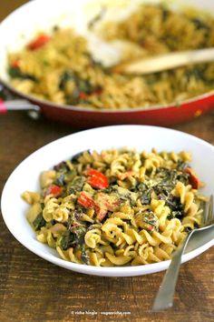 Zesty Pesto Pasta with Rainbow Chard, Zucchini, Red bell pepper - Vegan Richa