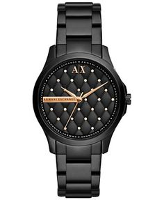 A|X Armani Exchange Women's Black Ion-Plated Stainless Steel Bracelet Watch 36mm AX5229