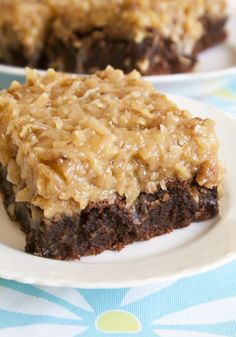 Over The Top German Chocolate Brownies. My momma would love these...birthday?