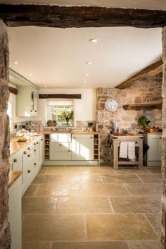 Country kitchen with a beautiful flagstone floor