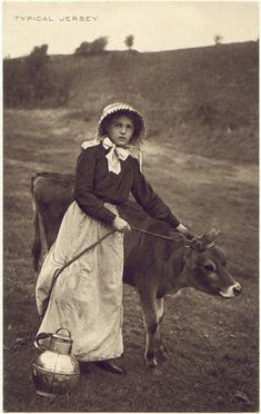 Jersey heifer and a milk maid. Love it!