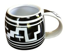 The Mesa Verde Cliff Dweller 12 Oz. Mug channels pottery history with  geometric patterns inspired by cliff-dwelling Mesa Verde (Anasazi) and Mimbres designs. Perfect for coffee, tea, and more!