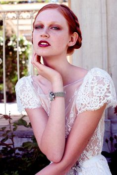 Berry toned eyeshadow and lips against red hair    Bridal shoot by 35mm Fashion Photography