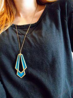 AMAZING! necklace bronze art deco with technicolor inlay by MargaretJulia, $40.00