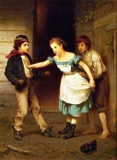 """""""The Peacemaker"""" (1867), by English-born American artist - John George Brown (1831-1913), Oil on canvas, 45.09 x 34.93 cm. (17.75 x 13.75 in.), Private collection."""