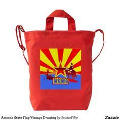 Arizona State Flag Vintage Drawing Duck Bag
