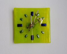 Chartreuse Fused Glass Wall or Desk Clock by FusedGlassRocks