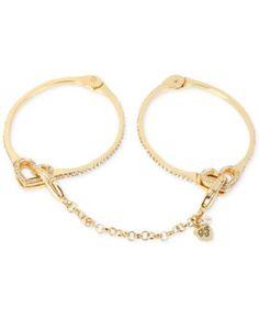 Betsey Johnson Gold-Tone Pavé Crystal Handcuff Bangle Bracelet Set