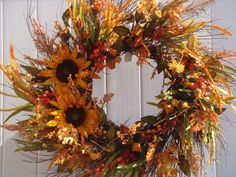 Fall wreath autumn wreath sunflower wreath by designsdivinebyjb