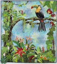 """Toucan, 52 x 66"""", art quilt by Grace Errea   Amazing quilts by Grace"""