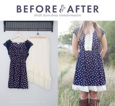 DIY Refashioned Thrift Store Dress with  #tagsthrift   An easy way to lengthen those dresses that are just too short!