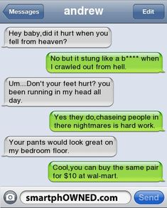Pick up lines gone wrong. ~aka how to make great comebacks~