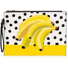 Anna Alexander - Banana Print Clutch Bag (226.790 COP) ❤ liked on Polyvore featuring bags, handbags, clutches, yellow purse, handbags purses, ipad purse, yellow hand bags and evening hand bags