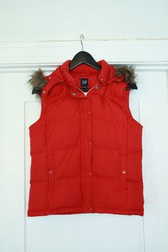 Ruby Red Puffer Vest with Removable Fur and Hood $25