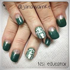 Coffee is a must for Monday! NSI Educator @janawarnke created fun @starbucks nails, a perfect pick-me-up! ‪#ManiMonday #NSI #NSINails #nails #nailart #starbucks #coffee