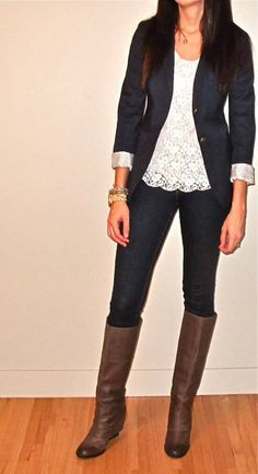 boots, jeans, lace shirt and blazer