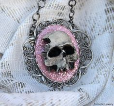 Skull Cameo necklace - Eternal in sparkly glittery Pink - Victorian Gothic 3D skeleton cameo, psychobilly, steampunk jewelry, bride wedding on Etsy, $35.00
