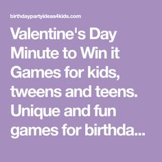 Valentine's Day Minute to Win it Games for kids, tweens and teens. Unique and fun games for birthday, group and classroom parties. Easy to play and inexpensive. Walmart Valentines, Valentines Games, Valentines Day, Fun Games, Games For Kids, Minute To Win It Games, Teen Birthday, Tween, Classroom