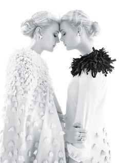 Dakota Fanning and Elle Fanning photographed by Mario Sorrenti for W Magazine, December 2011