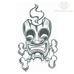 tiki tattoo | Tiki Mask With Bones Tattoo Design