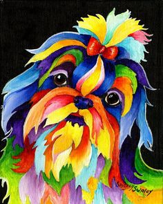 Shih Tzu 8 X 10 Dog Print by Artist Sherry Shipley for sale online Shih Tzu Hund, Perro Shih Tzu, Shih Tzu Dog, Shih Tzus, Arte Pop, Colorful Animals, Lhasa Apso, Animal Paintings, Dog Art