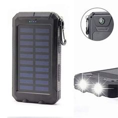 Solar Power Bank Solar Charger Waterproof Portable External Battery USB Charger Built in LED Light with Compass for iPad iPhone Android Cellphones Solar Phone Chargers, Solar Charger, Portable Charger, Solar Energy, Solar Power, Iphone Bluetooth, Lead Acid Battery, Mobile Accessories, Usb