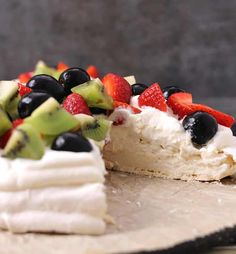 PAVLOVA - Cook with Kushi Gluten Free Desserts, Dessert Recipes, Creme Egg, Fruit In Season, Pavlova, Whipped Cream, Fresh Fruit, Cheesecake, Strawberry