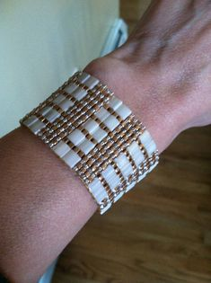 Tila bead cuff bracelet with Antique Ivory Pearl by 3Elementz