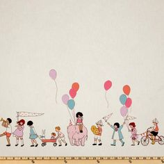 Michael Miller Children at Play On Parade Double Border Multi. Not sure what I would do with this. But I like it.