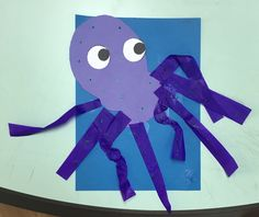This week we are learning about animals that live in the sea! One of our class favourites is the octopus! You may need: Blue construction paper Purple construction paper Purple crêpe/tissue paper L…