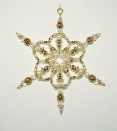 Snowflake Ornament White Pearl and Gold by BarbaraJanesBeadwork