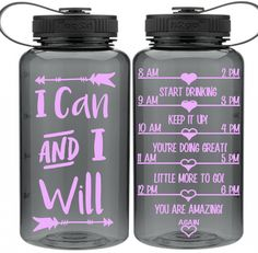 water intake bottle I Can and I Will arrow Encouraging water bottle motivationBPA free workout water tracker 34 Oz Water Bottle Tracker, Cute Water Bottles, Food Storage Boxes, Drinking Fountain, Diy Tumblers, Stainless Steel Types, Water Bottle Design, Fitness Gifts, Tumbler Cups