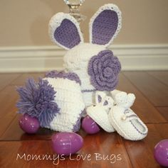 Custom order - includes carrot prop, First Easter Bunny Baby Crochet Set with Beanie Booties and Diaper Cover- Newborn to 12 Month Sizes. $60.00, via Etsy.