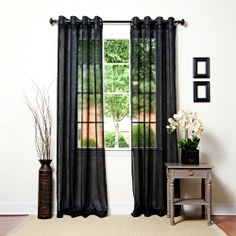 """2 Piece Grommet Top Sheer Panel Black by wpm. $14.99. Washing Care: Machine Washable. Material: Polyester. 2 Panels Size: 37""""Wx84""""L each  (total 74""""Wx84""""L). 2 Piece SHEER Panel Curtain set with grommets. Beautiful black. Design of this window set puts a natural spin on a traditional design. This set features 2 lovely Solid panel creating a pretty yet modern addition for your Home decor. Curtain can also be used for Livingroom windows, bedroom windows or other windows. Th..."""
