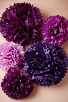 Shades of Radiant Orchid tissue paper pom poms #coloroftheyear