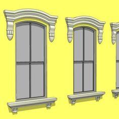 Neo-Classical and Baroque window cornice, trim and. Windows Architecture, Window Cornices, Classic Window, Baroque, Victorian, Exterior, Mirror, Google, Model