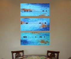 Orange Sunset Birds on a Wire Original Paintings by sheriwiseman, $159.00