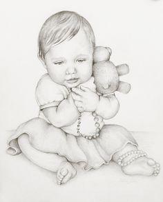 Custom Portrait Drawing, 8x10 Portrait of One Child, Affordable Pencil Commission Portrait. $38.00, via Etsy.