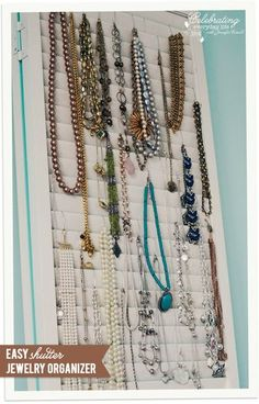 Shutter Jewelry Organizer, old shutter + ornament hooks = simple & stylish jewelry organizer for necklaces and bracelets!