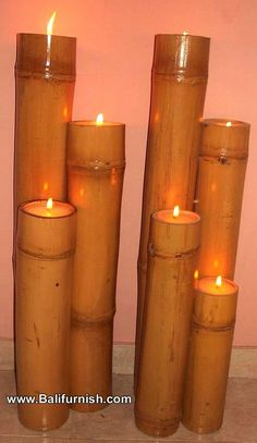 tea lights fit perfectly in these bamboo shoots... talk about a great ambiance.