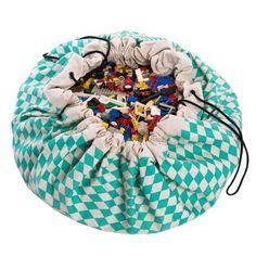 Play and go Opbergzak | speelmat diamond green - DE GELE FLAMINGO - 1 Green Play, Green Toys, Toy Storage Bags, Lego Storage, Storage Ideas, Storage Solutions, Kids Storage, Baby Accessoires, Play N Go